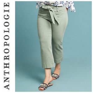 24W Anthropologie Pilcro Cropped Olive Denim Jeans
